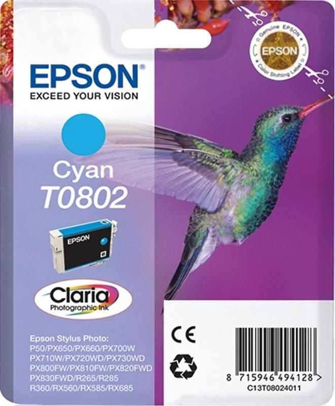 EPSON T0802, Originální tisková náplň Cyan 7,4ml